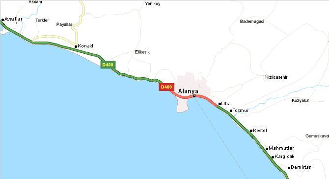 Alanya piirkonna kaart
